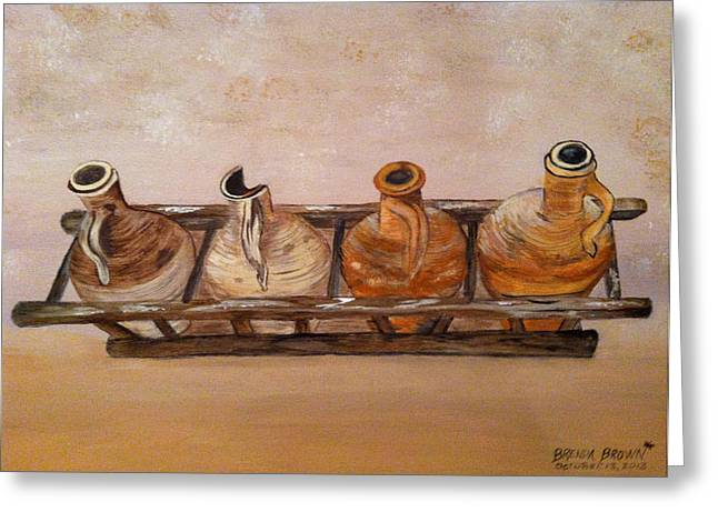 Clay Jugs In A Row Greeting Card by Brenda Brown