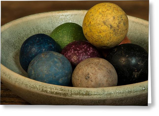 Clay Marbles In Bowl Greeting Card