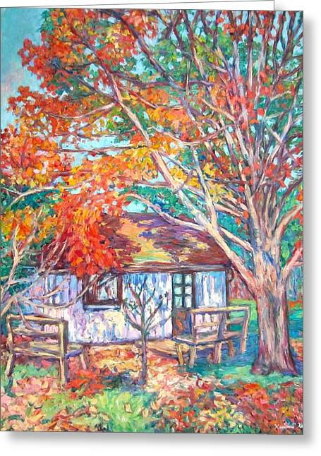 Claytor Lake Cabin In Fall Greeting Card