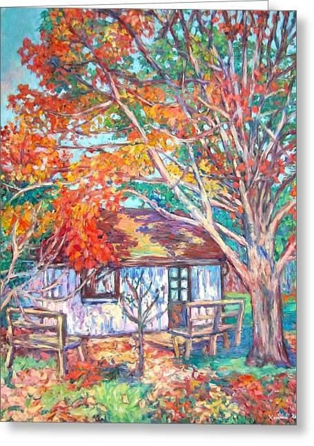 Claytor Lake Cabin In Fall Greeting Card