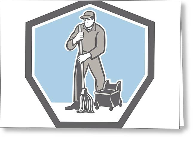 Cleaner Janitor Mopping Floor Retro Shield Greeting Card by Aloysius Patrimonio