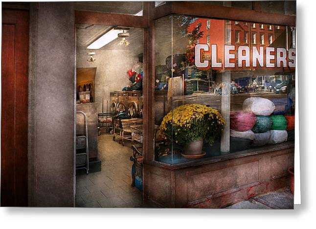 Cleaner - Ny - Chelsea - The Cleaners Greeting Card by Mike Savad