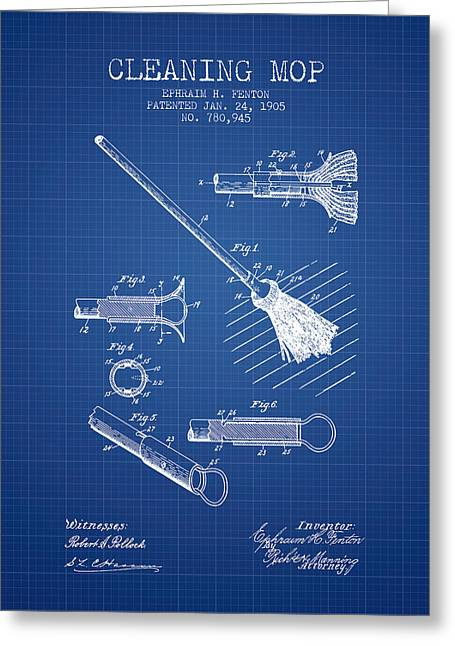 Cleaning Mop Patent From 1905 - Blueprint Greeting Card by Aged Pixel