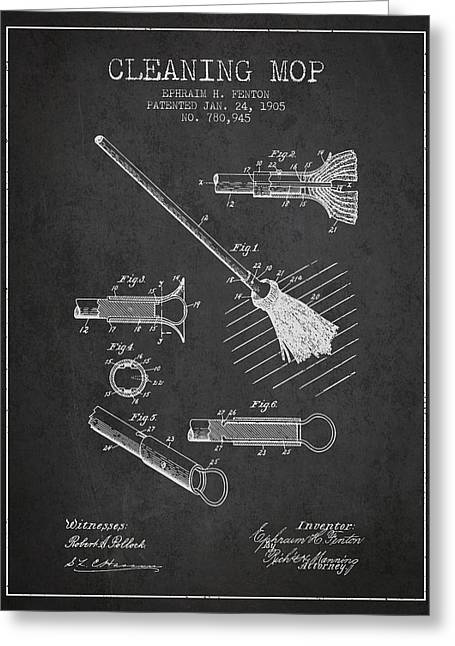 Cleaning Mop Patent From 1905 - Charcoal Greeting Card by Aged Pixel