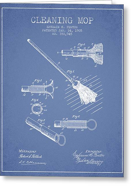 Cleaning Mop Patent From 1905 - Light Blue Greeting Card by Aged Pixel