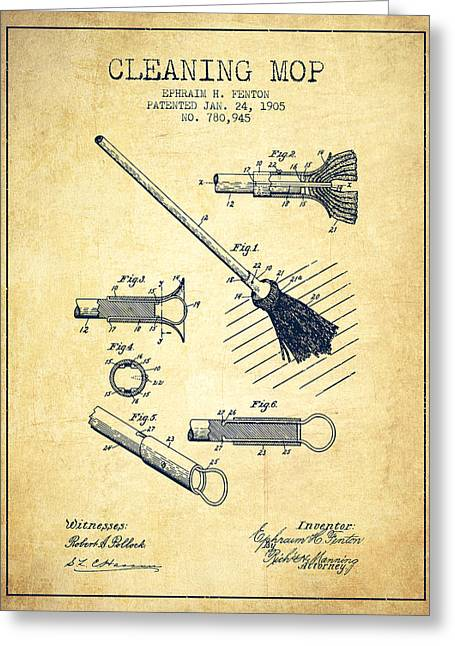 Cleaning Mop Patent From 1905 - Vintage Greeting Card