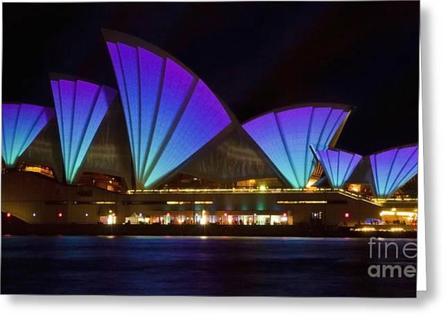 Clear Blue Sails - Sydney Vivid Festival - Sydney Opera House Greeting Card