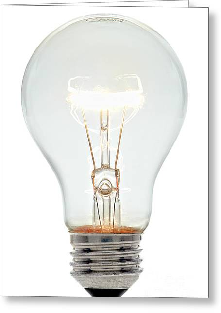 Clear Light Bulb Greeting Card by Olivier Le Queinec