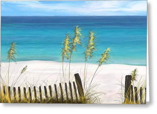 Greeting Card featuring the drawing Clear Water Florida by Anthony Fishburne