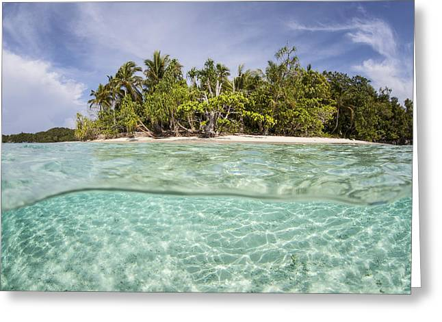 Clear Waters Surround A Remote Island Greeting Card by Ethan Daniels