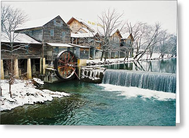 Clear Winter Day At The Old Mill Greeting Card by John Saunders