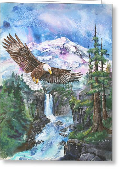 Greeting Card featuring the painting Cleared For Landing Mount Baker by Sherry Shipley
