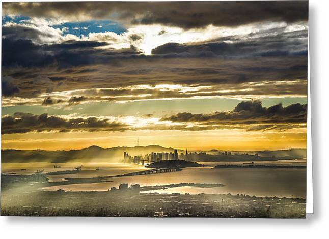 Clearing Bay Storm Greeting Card by Fred Rowe