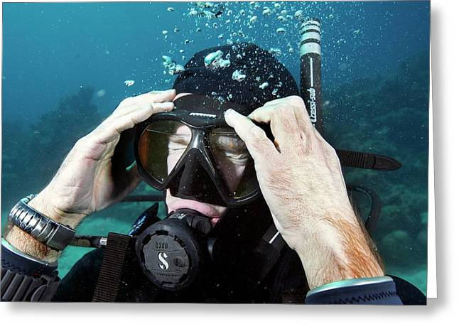 Clearing Water-filled Diving Mask Greeting Card by Louise Murray