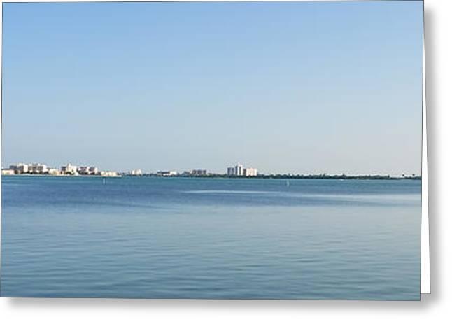 Clearwater Beach - Bridge To Bridge Panorama Greeting Card by Bill Cannon