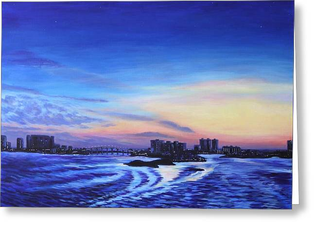 Greeting Card featuring the painting Clearwater Beach Sunset by Penny Birch-Williams