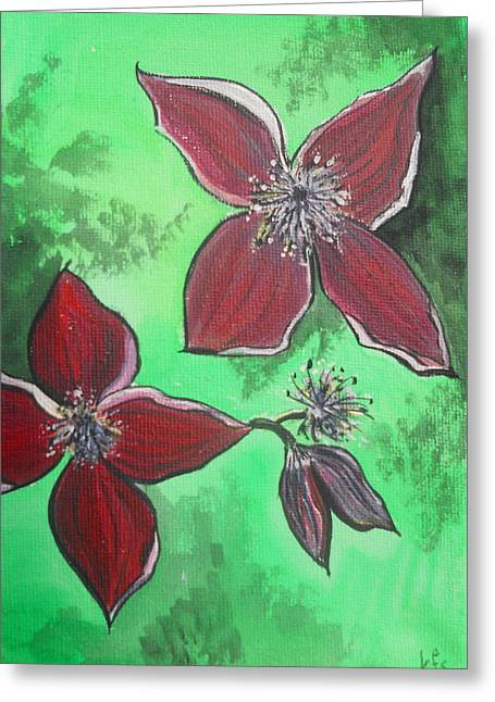 Clematis Burgundy Greeting Card by Kathy Spall