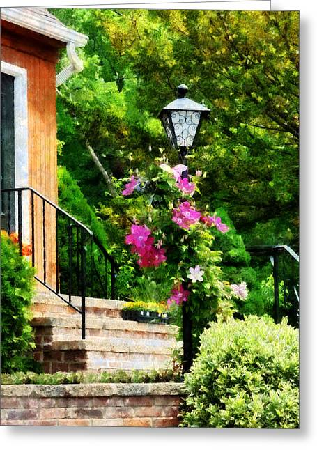 Clematis On A Lamp Post Greeting Card