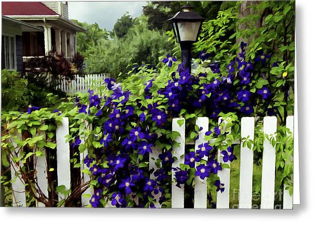 Clematis On White Picket Fence Painting Effect Greeting Card