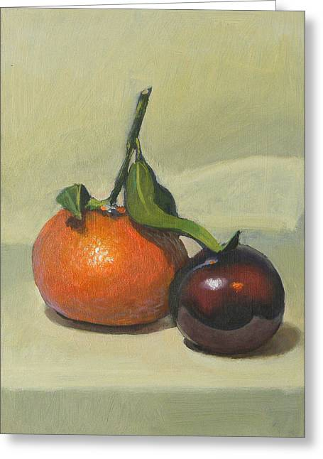 Clementine And Plum Greeting Card by Peter Orrock