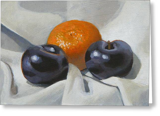 Clementine And Plums Greeting Card by Peter Orrock