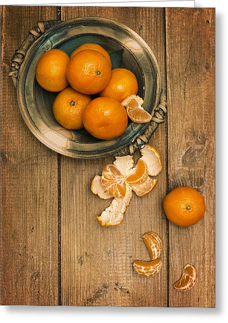 Clementines On Wooden Board Greeting Card by Amanda Elwell