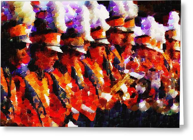 Clemson Tiger Band - Afremov-style Greeting Card