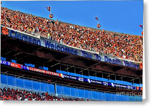 Clemson Tigers Death Valley Greeting Card by Jeff McJunkin