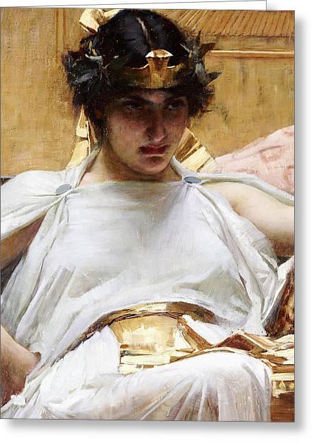 Cleopatra Greeting Card by John William Waterhouse