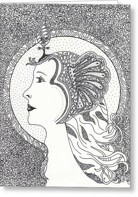 Greeting Card featuring the drawing Cleopatra  by Tamyra Crossley