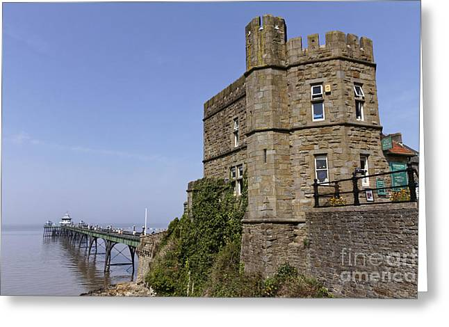 Clevedon Pier And Gatehouse Somerset England Greeting Card