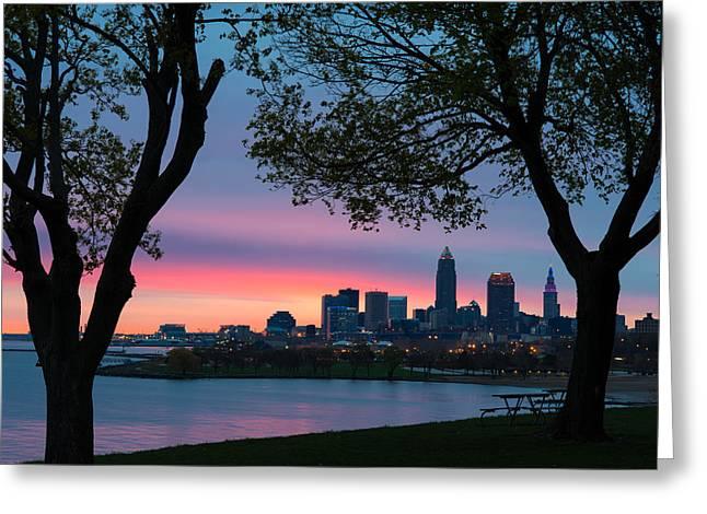 Cleveland At Dawn Greeting Card