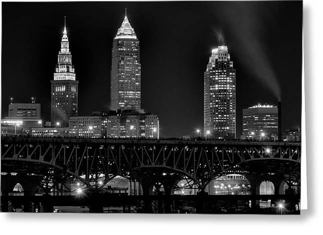 Cleveland Black And White Night Greeting Card