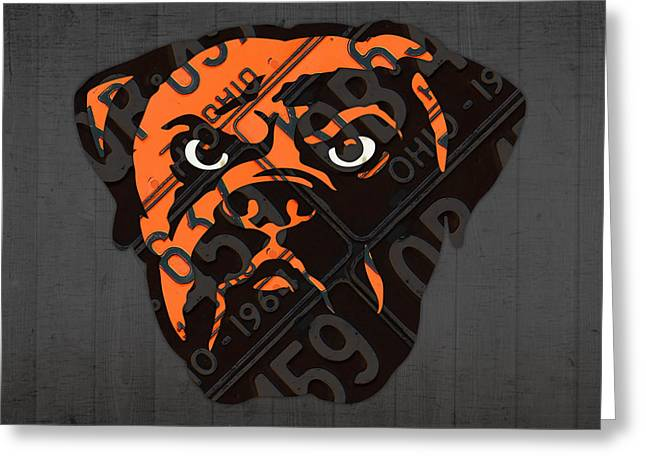 Cleveland Browns Football Team Retro Logo Ohio License Plate Art Greeting Card by Design Turnpike