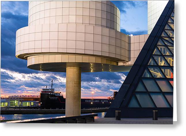 Cleveland Cliffs Barge And Rock Hall Greeting Card