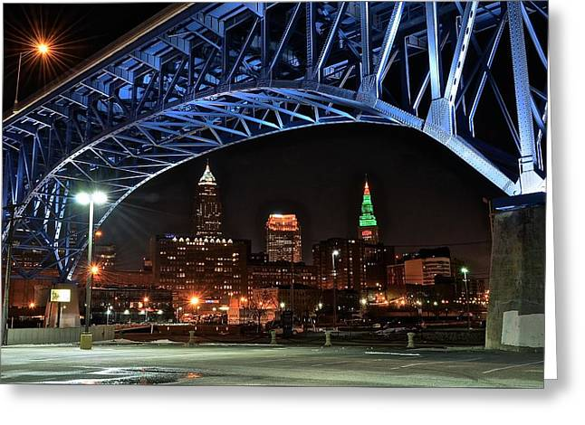 Cleveland Framed In Color Greeting Card by Frozen in Time Fine Art Photography