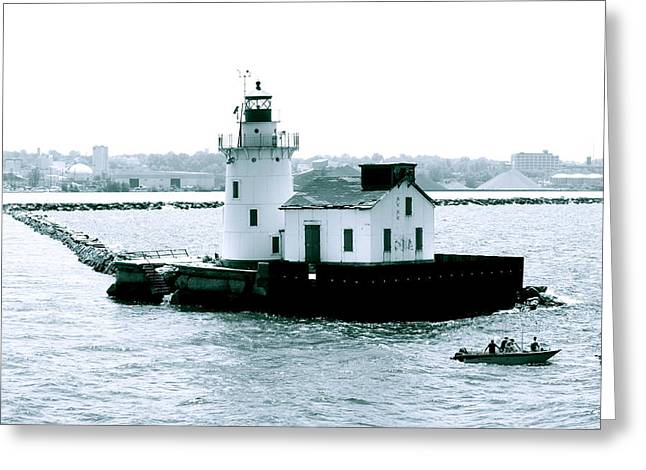 Cleveland Harbor Lighthouse Greeting Card by MB Matthews