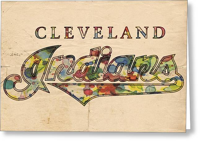 Cleveland Indians Poster Vintage Greeting Card by Florian Rodarte