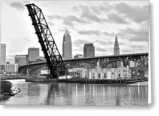 Cleveland Over The Cuyahoga Greeting Card