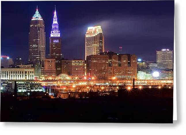 Cleveland Panoranic Greeting Card by Frozen in Time Fine Art Photography