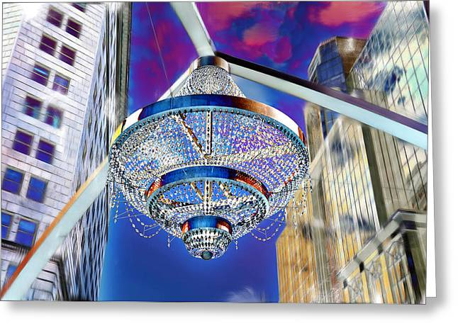 Cleveland Playhouse Square Outdoor Chandelier - 1 Greeting Card by Mark Madere