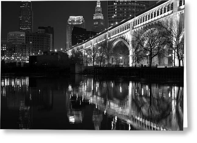 Cleveland Reflections In Black And White Greeting Card