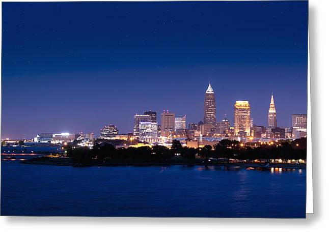 Cleveland Skyline Dusk Greeting Card