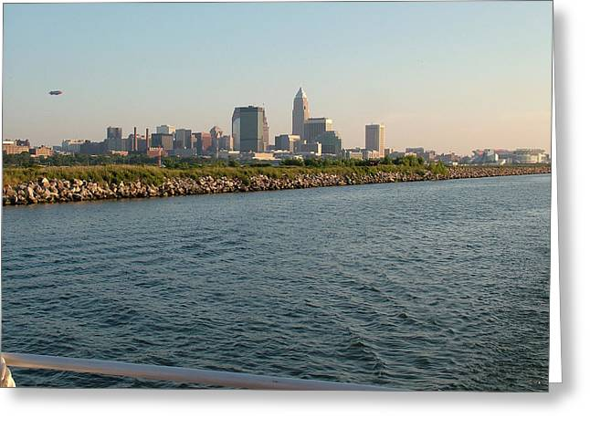 Cleveland Skyline From Blimp To Stadium Greeting Card by Liz Copic