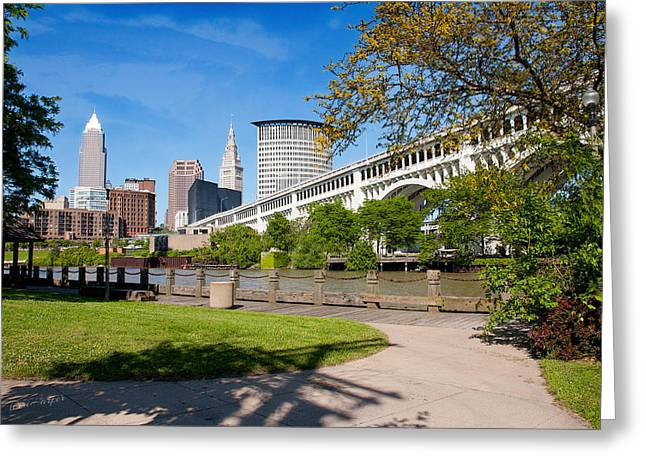 Cleveland Skyline From Riverbed Road Greeting Card by Terri Harper