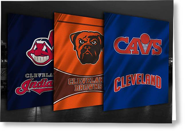 Cleveland Sports Teams Greeting Card by Joe Hamilton