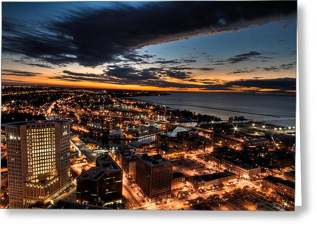 Cleveland Sunset Greeting Card by Brent Durken