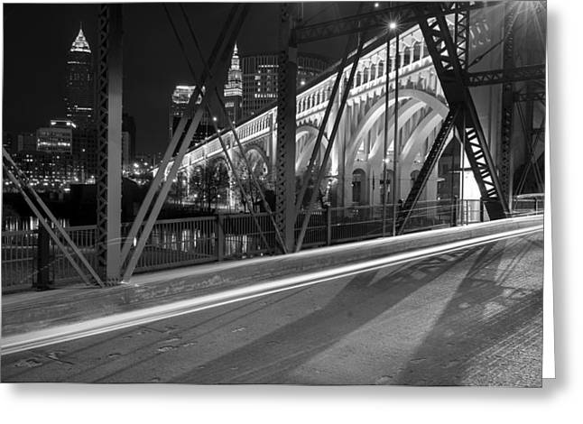 Cleveland Swing Bridge Skyline Greeting Card