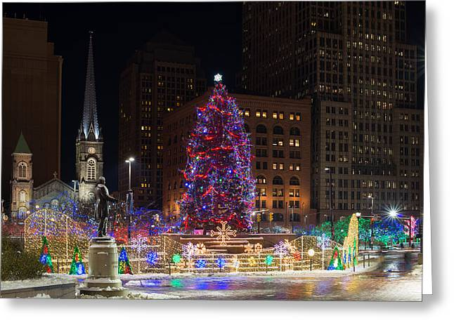Cleveland's Christmas Tree Greeting Card by Clint Buhler