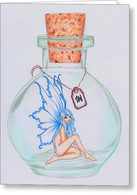 'clever' Bottled Fearie Greeting Card by Nicole Lozier
